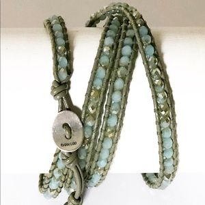 Chan Luu Mint Crystals Bracelet coconut leather